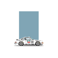 Porsche 964 911 Coupe White Carrera Cup Car Artwork Print