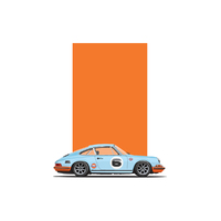 Porsche 911 Coupe Gulf Long Hood Artwork Print